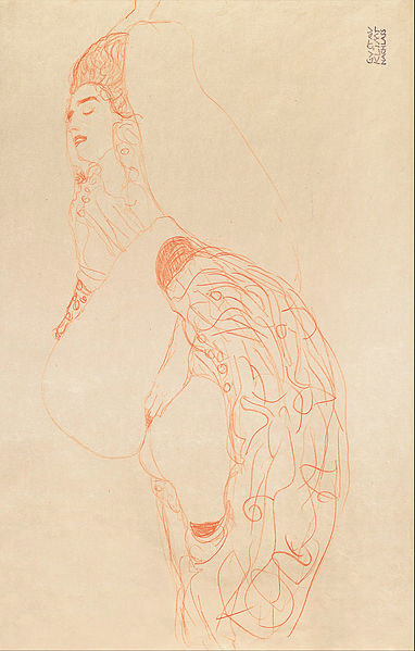 Reclining Semi-Nude (Masturbating) by Gustav Klimt